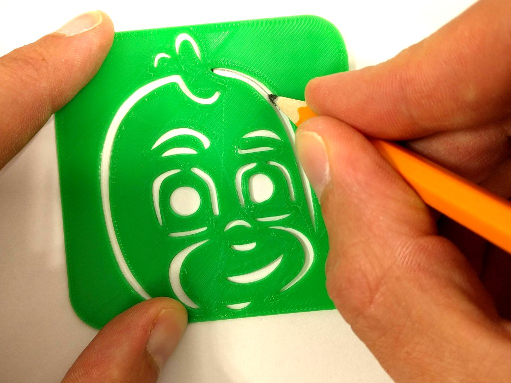 PJ Masks stencil in use